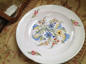 Plate painted with flowers